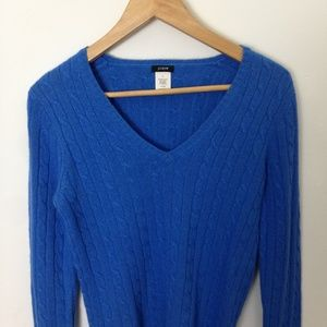 J. Crew V-Neck Women S Cable Knit Blue Sweater